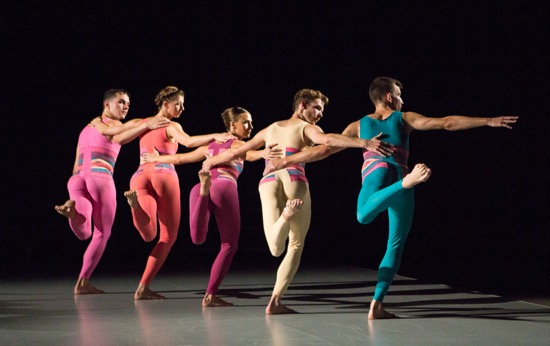 Pam Tanowitz's Sequenzas in Quadrilles. (L to R): Victor Lozano, Lindsey Jones, Sarah Haarmann, Jason Collins, and Dylan Crossman. Photo: Yi-Chun Wu