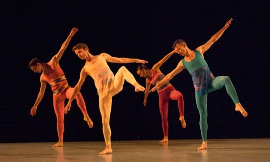 Pam Tanowitz's Sequenzas in Quadrilles. (L to R): Victor Lozano, Jason Collins, Sarah Haarmann, and Dylan Crossman. Photo: Yi-Chun Wu