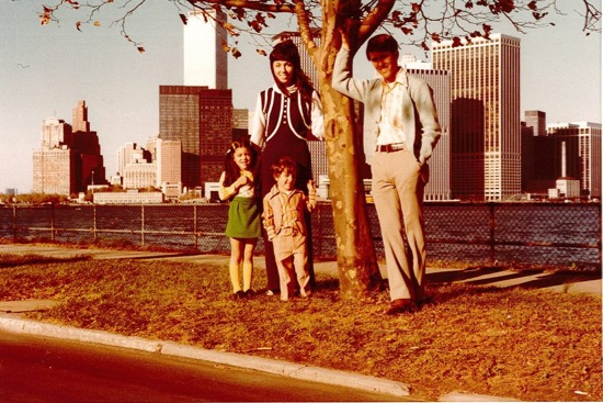 Colleen Thomas (green skirt) and her family on Governors Island in the 1970s