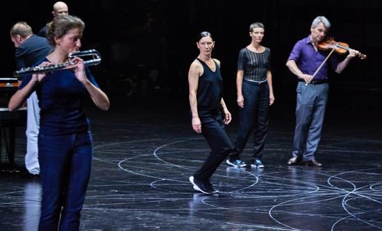 Anne Teresa De Keersmaeker's Vortex Temporum. (L to R): Chryssi Dimitriou, Cynthia Loemij, Marie Goudot, Igor Semenoff Photo: Robert Altman