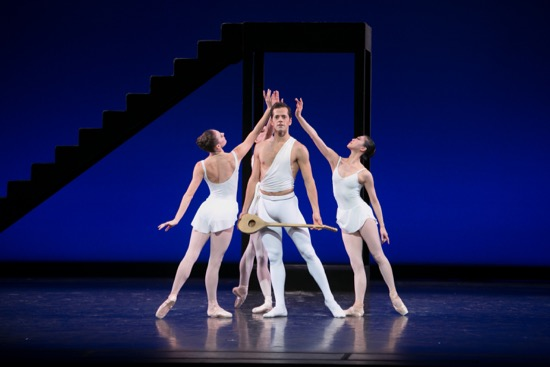 George Balanchine's Apollo. Center: Robert Fairchild. Muses (L to R): Tiler Peck, Isabella Boyleston (hidden). and Misa Kuranaga. Photo: Erin Baiano