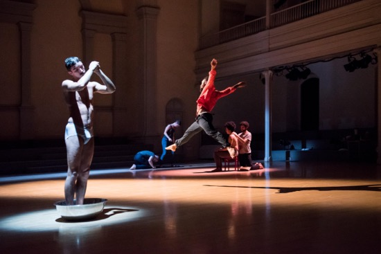 Variations on Themes from Lost and Found. Charles Gowin standing in basin, Johnnie Cruise Mercer leaping. Alex Rodabaugh and Talya Epstein (in blue), and Alvaro Gonzalez washing Madison Krekel. Photo: Ian Douglas