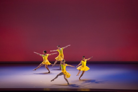 "The Lucinda Childs Dance Company's Sarah Hillmon, Anne Lewis, Katherine Helen Fisher, and Shakirah Stewart in ""Lollapalooza."" Photo by John Sisley."