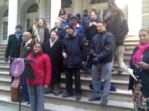 Central Brooklyn Jazz Consortium on NYC City Hall steps -- photo by Howard Mandel