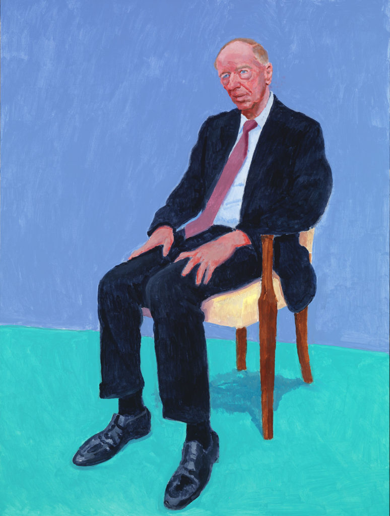 """LORD JACOB ROTHSCHILD, 5-6 FEBRUARY"" 2014 ACRYLIC ON CANVAS 48 X 36"" © DAVID HOCKNEY PHOTO CREDIT: RICHARD SCHMIDT"
