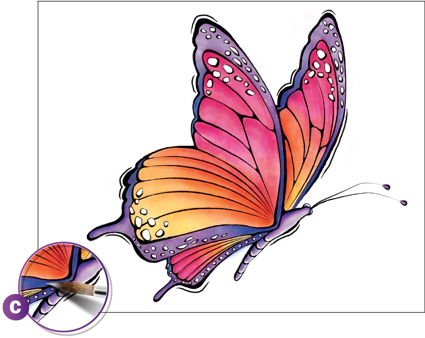 Watercolor Painting Beautiful Butterfly
