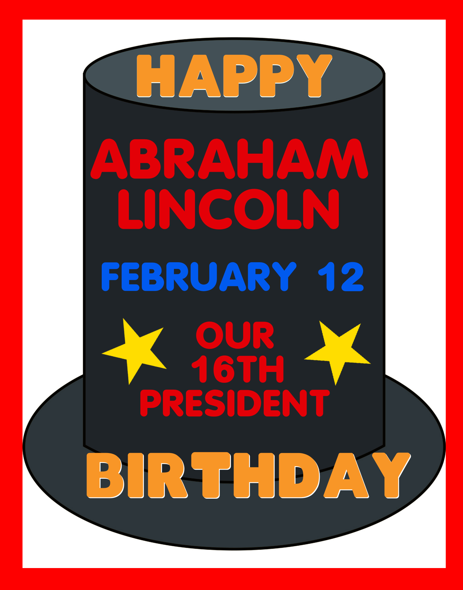 Make A Happy Birthday Poster About Abraham Lincoln