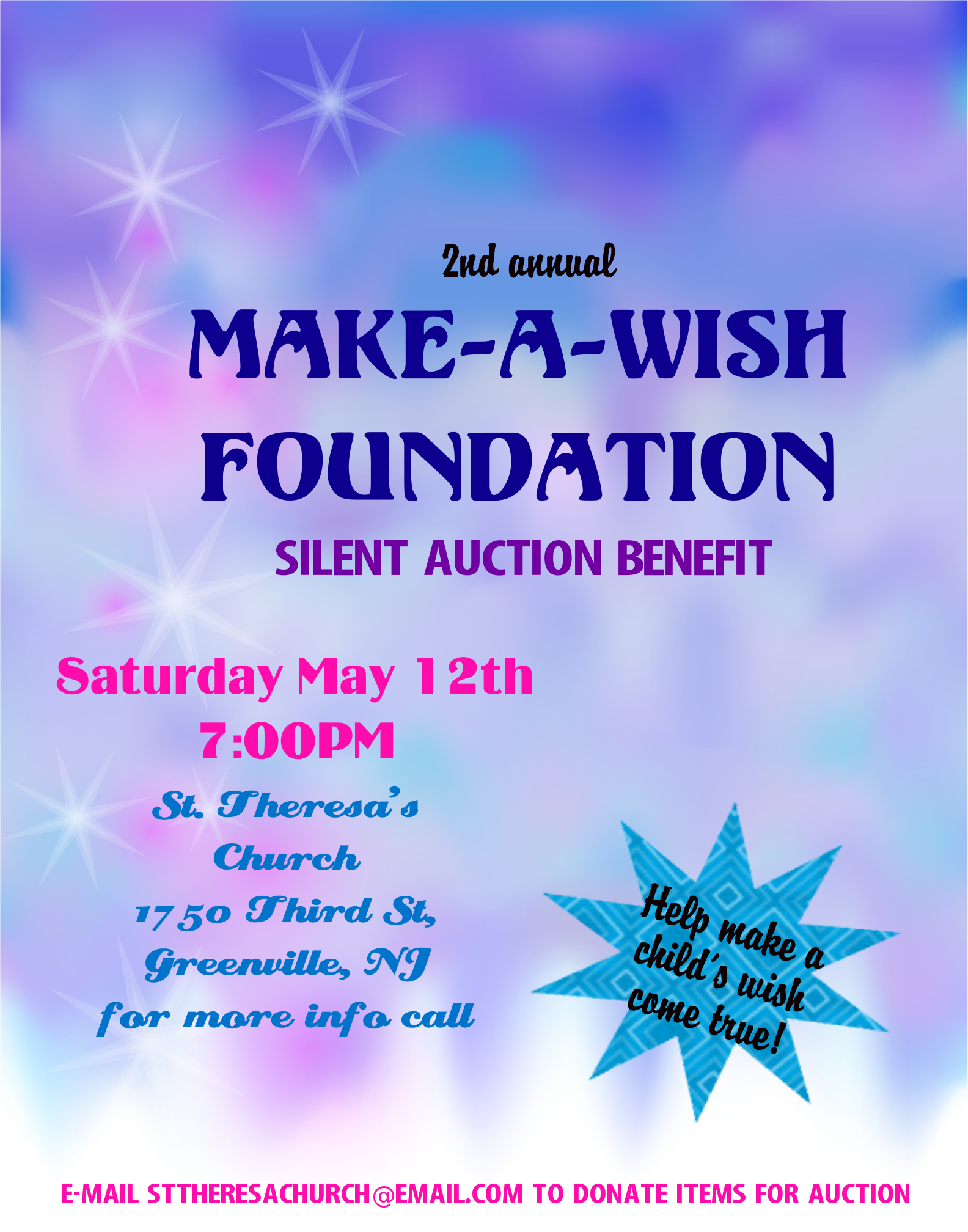 Make A Slient Auction Event Poster Poster Ideas About Make A Wish Foundation Fundraiser