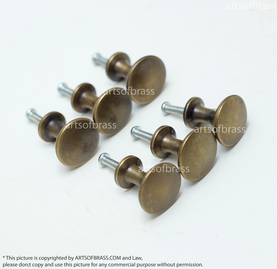 brass cabinet pulls 0 94 quot lot of 6 pcs vintage brass thumbtack knobs 12528