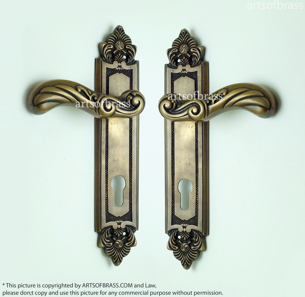 1035 Set Vintage Brass Victorian Entry Door Deadbolt Main Door Handle