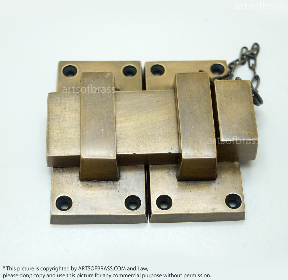 Brass Gate Latch : Latch and lock ″ inches vintage solid brass western