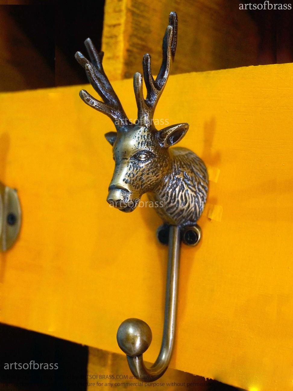 Vintage Brass ELK / DEER Head Hook Wildlife Coat Cloth Hat Hook Hanger