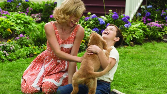 "JULIET RYLANCE and BRYCE GHEISAR play with BAILEY in ""A Dog's Purpose.""  Based on the beloved bestselling novel by W. Bruce Cameron, the family film from director Lasse Hallström (The Cider House Rules, Dear John, The 100-Foot Journey) shares the soulful and surprising story of one devoted dog (voiced by Josh Gad) who finds the meaning of his own existence through the lives of the humans he teaches to laugh and love. JULIET RYLANCE and BRYCE GHEISAR play with BAILEY in ""A Dog's Purpose."" Based on the beloved bestselling novel by W. Bruce Cameron, the family film from director Lasse Hallström (The Cider House Rules, Dear John, The 100-Foot Journey) shares the soulful and surprising story of one devoted dog (voiced by Josh Gad) who finds the meaning of his own existence through the lives of the humans he teaches to laugh and love.  Byline:	Photo Credit: Joe Lederer"