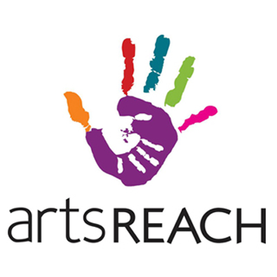 artsREACH logo: colourful art hand