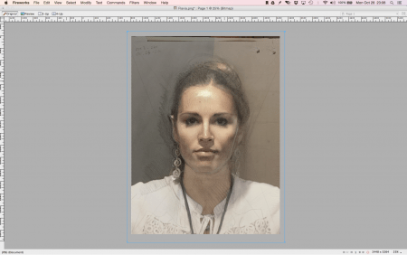 With the image of Flavia at 50% transparency, I've matched the size of her image to the drawing below.