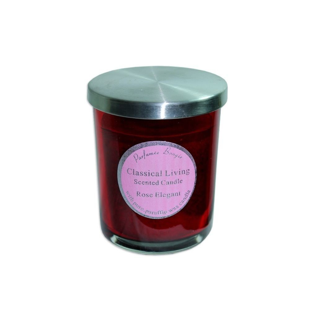10cm Scented Candle In Glass Jar With Stainless Steel Lid Rose Elegant MQ 546