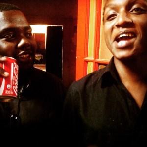 Nhlanhla Daniel Mahlangu and Oscar Rachabane (right) at the Book Cafe, Harare, Zimbabwe