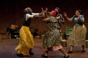 Titi Motsieloa, Thina Mnumzana, Kekeletso Matlabe and Lerato Makara in Mosali Eo U 'Neileng Eena - © Suzy Bernstein