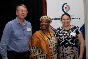 Left to Right: Prof Geoff Antrobus (SACO Research Fellow), Yaa Ashantewaa Archer Ngidi (Director of the Institute of Afrikology at Durban University of Technology) and Prof Jen Snowball (SACO Chief Economist and Research Strategist)