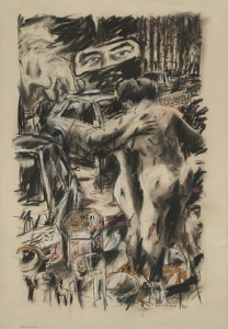 William Kentridge | Room Service | 1986 | charcoal, pastel and gold paint on paper | 90 x 63 cm | Courtesy of Nina Lieska, Repro Pictures