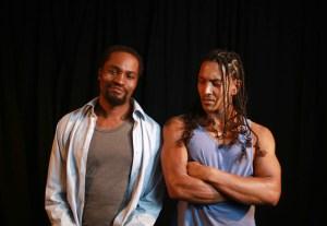 Marty Kintu and Daniel Richards in Topdog Underdog. (Photo: Nardus Engelbrecht.)