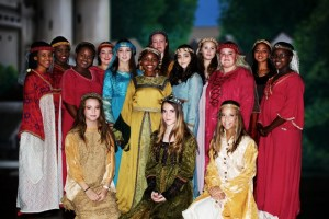 The ladies of the company in Victoria Park High School's production of Camelot, with the alternating Gueneveres, Zoe Gray (left, front) and, next to her, Sarah McKenzie. The show runs from Wednesday, to Saturday, May 17 to 20, in the David Blake Hall