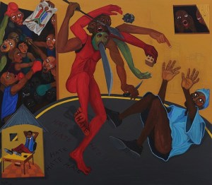 "Richard Mudariki, ""Signs of the Times"", acrylic on canvas, 140 x 160 cm"