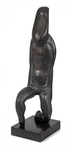 Lot 370, Sydney Kumalo, Madala VI, signed with the artist's initials and numbered I/X, bronze, mounted on a wooden base, height: 86 cm excluding base; base 6,5 cm high, R 700 000 - 900 000
