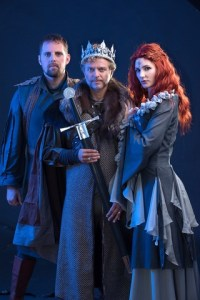 Camelot with Lyle Buxton as Sir Lancelot, Steven Stead as Arthur, and Jessica Sole as his queen, Guinevere. Photo by Val Adamson.