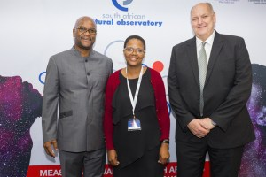 Minister of Arts and Culture, Nkosinathi 'Nathi' Mthethwa with South African Cultural Observatory's (SACO) CEO, Professor Richard Haines and Research Manager, Unathi Lutshaba.