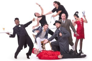 The cast of The Play that Goes Wrong. Photo by Val Adamson.