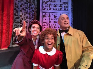 Kaylan Sabbadin as Grace, Luciano Zuppa as Daddy Warbucks and Jessica Peters as Annie.