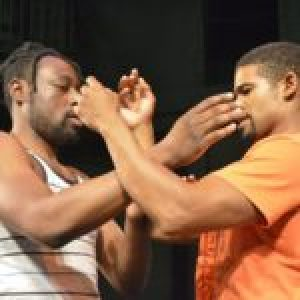 Richard Lukunku and David Johnson starring in One Night in Miami. (Photographer Iris Dawn Parker)
