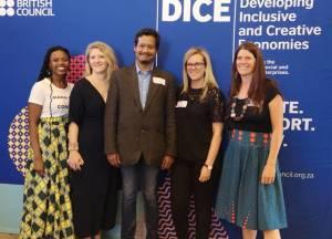 DICE: Impact Makers & Creators: SPEAKERS : (L-R) Nwabisa Mayema (Nnfinity), Becky Schutt (British Council, DICE), Tauriq Jenkins (Social Entrepreneur), Kate Gardner (British Council, DICE) and Rachael Millson (Social Enterprise Academy)