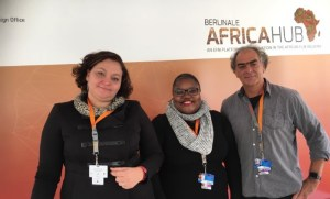 Toni Monty, head of DFO; Chipo Zhou, manager of DIFF; and Don Edkins of Afridocs at last year's Africa Hub at the EFM.