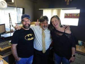 TEASE!: Jose Domingos, Renos Spanoudes and Vanessa Frost in studio at Hellenic Radio