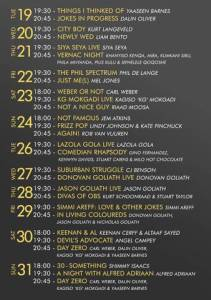 Mother City Comedy Festival line up