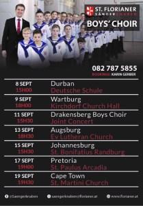 St. Florian Boys Choir SA Tour Schedule