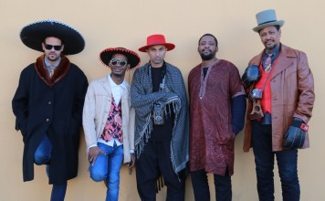 Mandla Mlangeni (trumpet), Afrika Mkhize (piano), Mark Fransman (accordion, clarinet and sax), Reza Khota (guitar), Nicholas Williams (bass), Clement Cyril Gerard Benny (drums) and Tlale Makhene (percussion) are the Tune Recreation Committee. (Photo Credit: Ignatius Mokone)