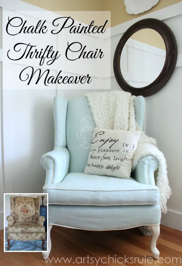Chalk Painted Upholstered Chair Makeover - After Makeover - artsychicksrule.com #paintedupholstery #chalkpaint #diy (5)