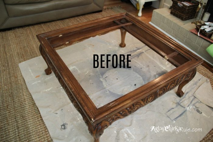 thrift store coffee table turned diy
