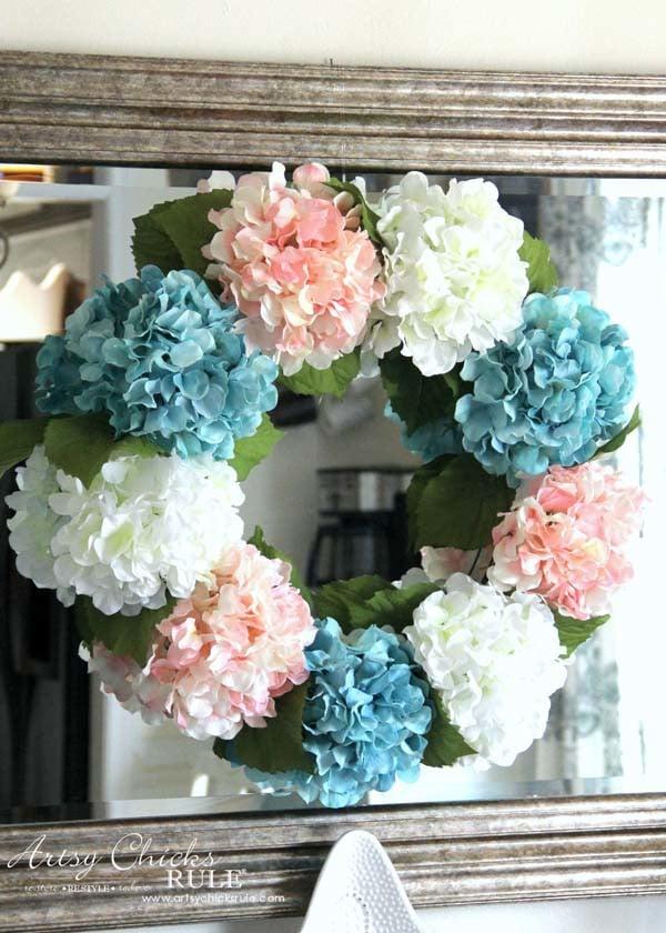 DIY Hydrangea Wreath - Colorful Spring Wreath - artsychicksrule.com #hydrangeawreath #springwreath