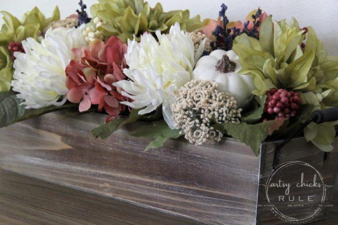 Floral and Pumpkin FALL CENTERPIECE - artsychicksrule.com #fallcenterpiece #woodenboxflowers #flowercenterpiece #tablecenterpiece #pumpkincenterpiece #falldecor #fallideas #fallflowers #pumpkinprojects #pumpkindecor