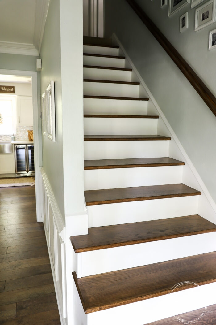 Update Stairs With Gel Stain So Simple Artsy Ch*Cks Rule® | Painted And Stained Stairs | Easy Diy | Two Tone | Espresso Stained | Pinterest | Home