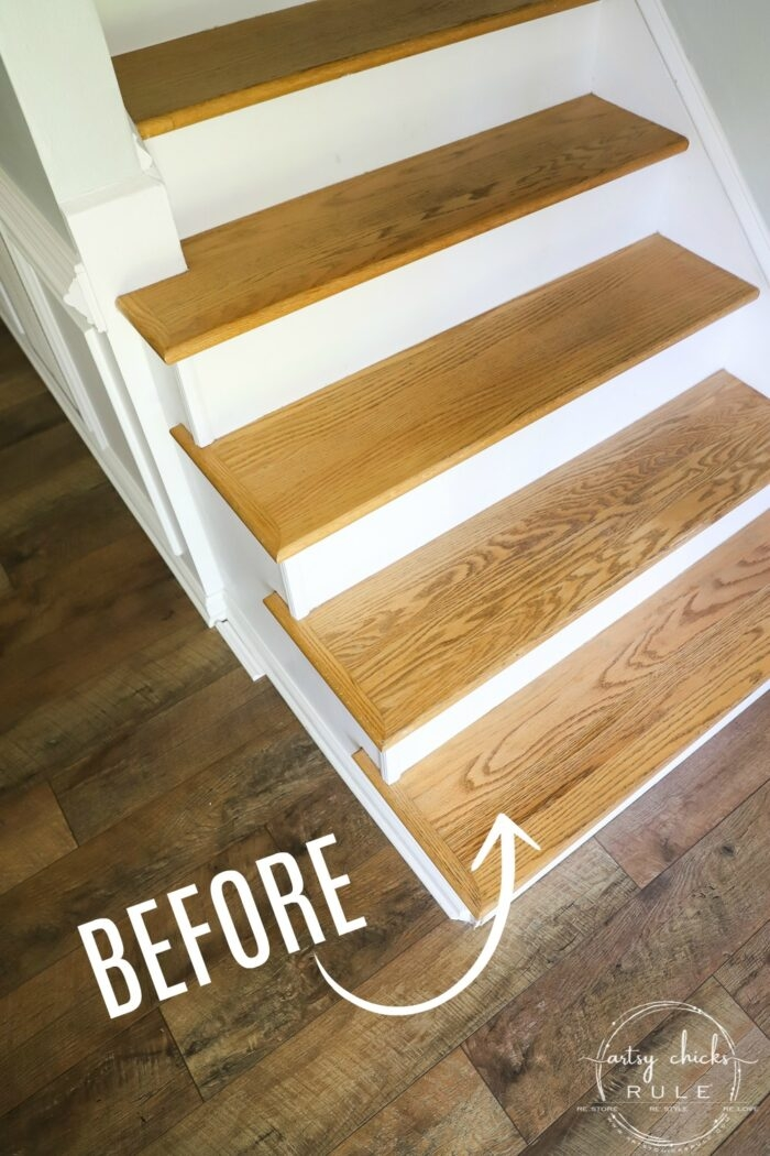 Update Stairs With Gel Stain So Simple Artsy Ch*Cks Rule® | Oak Steps For Stairs | Finished | Solid Wood | Diy | Laminate | Painted Interior Stair
