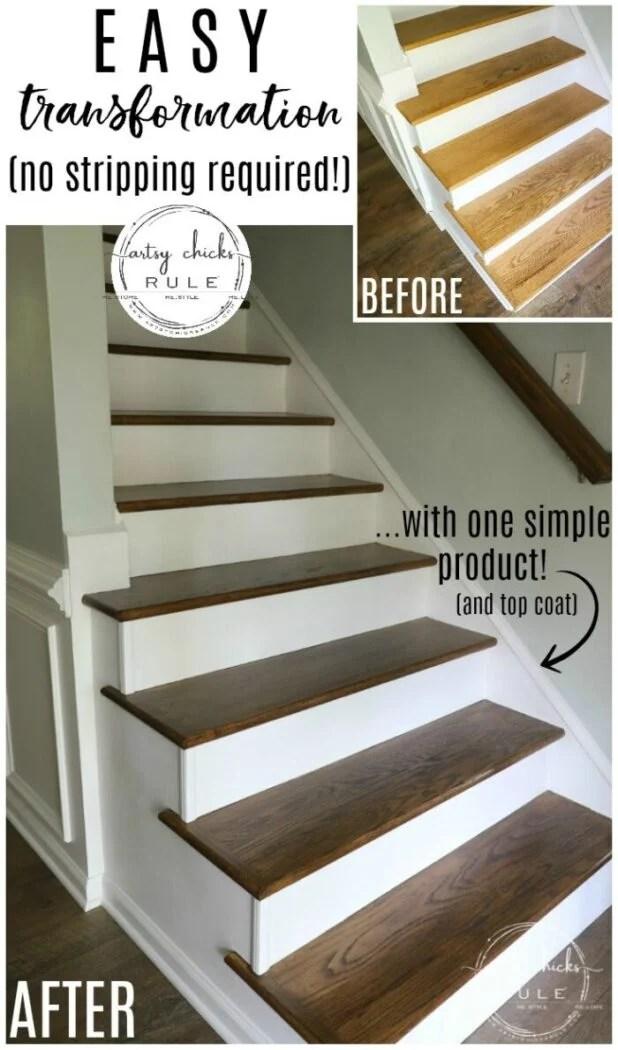 Update Stairs With Gel Stain So Simple Artsy Ch*Cks Rule®   Best Wood For Indoor Stairs   Laminate Flooring   Stair Parts   Glass   Stair Risers   Anti Slip