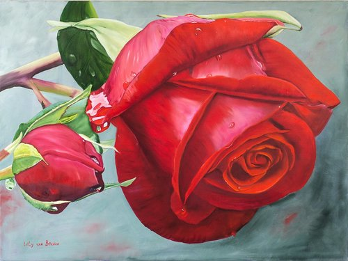 """Rose Otto"" Oil on Linen, 120cm x 90cm by artist Lily Van Bienen. See her portfolio by visiting www.ArtsyShark.com"