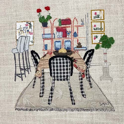 fabric collage of a room interior by Sarah Wiley