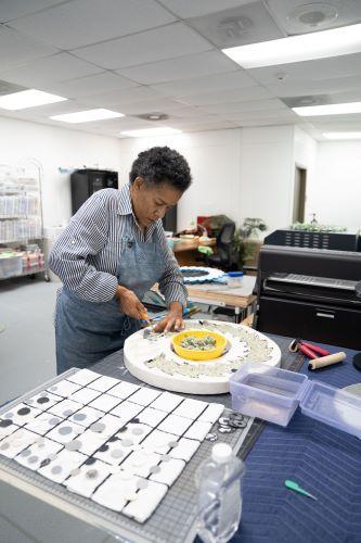 Artist Tuesday Winslow in her studio