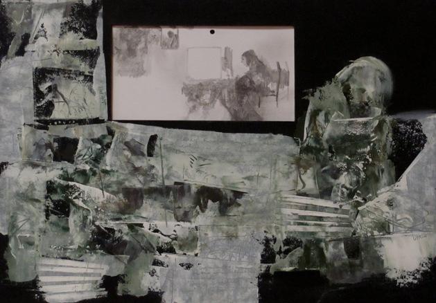 13 .Akryl, olej. Karton gruntowany.'' Nikt ręki nie poda - bo dłonie zajęte''. 21 cm x 30 cm. 2014